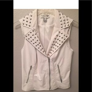 Faux leather white sleeveless studded vest